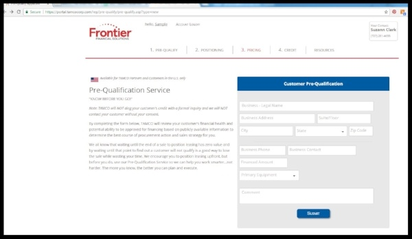 FFS Pre-Qualification Tool Screen