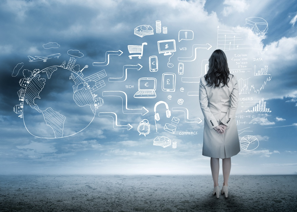 Businesswoman looking out at brainstorm drawings in cloudy landscape